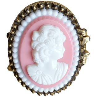 Gold Pink and White Locket Cameo Ring
