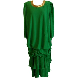 Gold Sequin Collared Green Dress with Ruffle Hems by Roamans