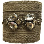 Gold Trim Bracelet with Rhinestones by Sarafiné
