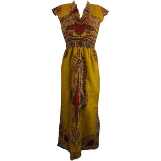 Golden Printed Midi Dress with Cap Sleeves