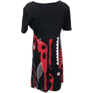 Black and Red Graphic Print Dress by BDL