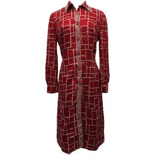 Red and White Bamboo Print Button Up Midi Dress by Ju Mo
