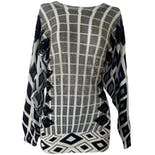 Gray and Black Geometric Beaded Sweater by Cee