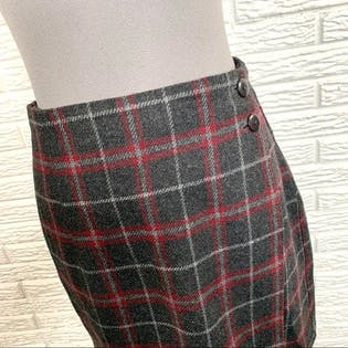Gray and Red Plaid Wool Wrap Skirt by 35th & 10th
