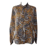 70's Gray and Yellow Paisley Printed Blouse with Bow Tie Neck by Blair