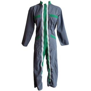 Gray and Green Zip Up Coveralls
