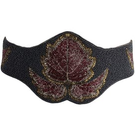 Gray Beaded Belt with Beaded Floral Design