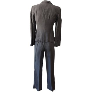 Gray Textured Blazer and Trouser Set by Emporio Armani
