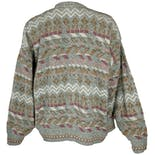 another view of Grayed Blue and Pink Patterned Cardigan by John Henry