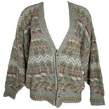 Grayed Blue and Pink Patterned Cardigan by John Henry