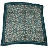 Green and White Paisley Square Scarf