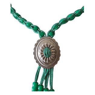 90's Green Beaded Bolo Tie Necklace