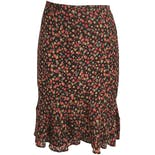 another view of Silk Polka Dot Ruffle Hem Midi Skirt by Valerie Stevens