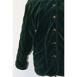 Green Quilted Velvet Button Front Jacket with Red Lining by Susan Bristol