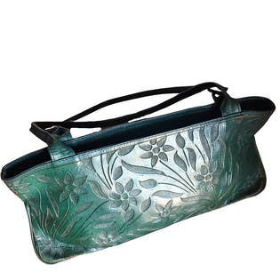 Green Tooled Leather Handbag
