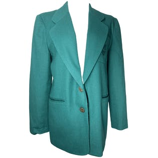 Green Wool Double Breasted Blazer by Panther