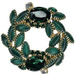 Green Wreath Rhinestone Brooch