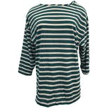 Green and White Striped Quarter Length Sleeve T-Shirt