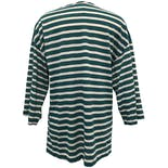 another view of Green and White Striped Quarter Length Sleeve T-Shirt