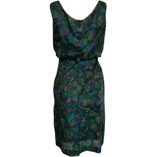Green Blue and Purple Circle Patterned Sleeveless Dress