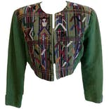 Green Cropped Boxy Jacket with Embroidery and Shoulder Pads by Nebaj