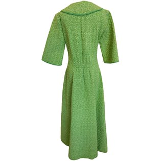 Green Floral Microprint Zip-Front Collared Dress