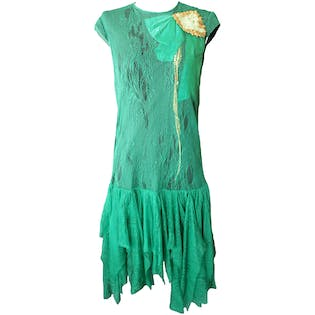 Green Lace Dress with Bow and Sequins