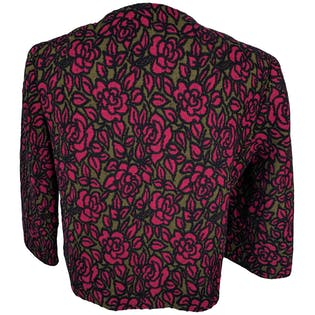 70's Handmade Black and Pink Floral Bolero Jacket