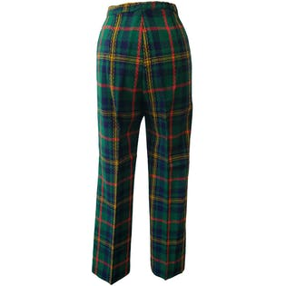 Green Plaid Pants with Gold Buttons by russ girl