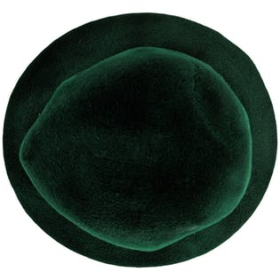 Green Rounded Hat with Bow by Yves Saint Laurent