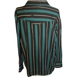Green Black and White Striped Snap Button Up Western Shirt by Wrangler
