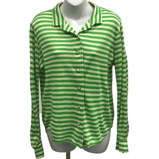 60's Green and White Striped Button Up