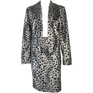 Black and Two Piece Grey Soft Cheetah Print Blazer Jacket Pencil Skirt Set by Focus 2000