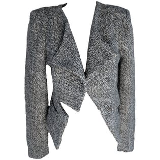 Gray Tweed Structured Crop Blazer by Funktional