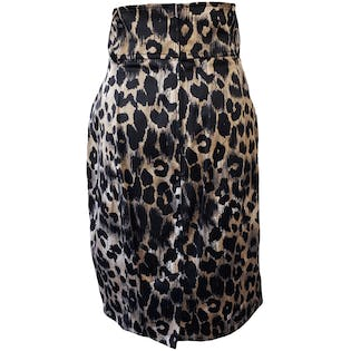 High Waisted Leopard Print Pencil Skirt with Black Pleat Details by Kenpo Girl