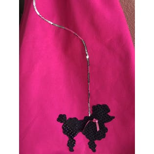 50's Hot Pink, Silver, and Black Sequined Poodle Skirt by Charades