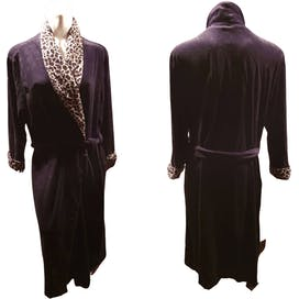 Black Cozy Robe with Leopard Print Collar and Cuffs by Amanda Stewart Intimates