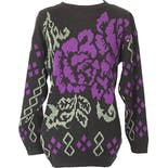 80's/90's Black Knit Sweater with Purple and Light Green Floral