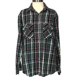 90's Green Black and Burgundy Plaid Button Up by Five Brothers