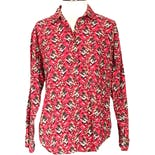 Red with Neutral Colored Floral Print Button Up by Chaus Sport
