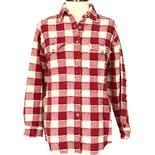 90's Red and White Exposed Seams Plaid Button Up by Krazy Kat