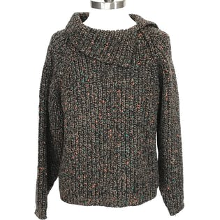 80's/90's Multicolor Speckled Brown Wool Mock Neck Sweater