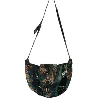 80's Green and Multicolor Printed Leather Crossbody Purse by Sereta