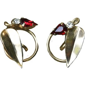 50's Gold Tone Faux Ruby and Faux Diamond Leafy Screw Back Earrings
