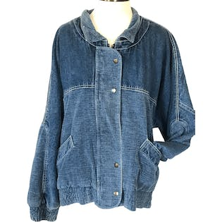 80's Denim Corduroy Bomber Jacket by Gitano