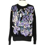 80's/90's Black Sweatshirt with Purple Floral Print by Blair