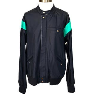 80's/90's Navy Blue Lightweight Jacket with Teal Stripes