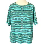 80's/90's Teal Striped and Geometric Print Half Button Up T-Shirt by Action Gear