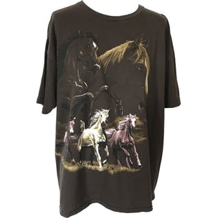 90's Brown Wild Horse Graphic T-Shirt