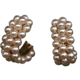 50's Faux Pearl Hoop Screw Back Earrings